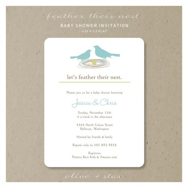 Feather Their Nest   Baby Shower Invitation Set  $16 25, Via Etsy