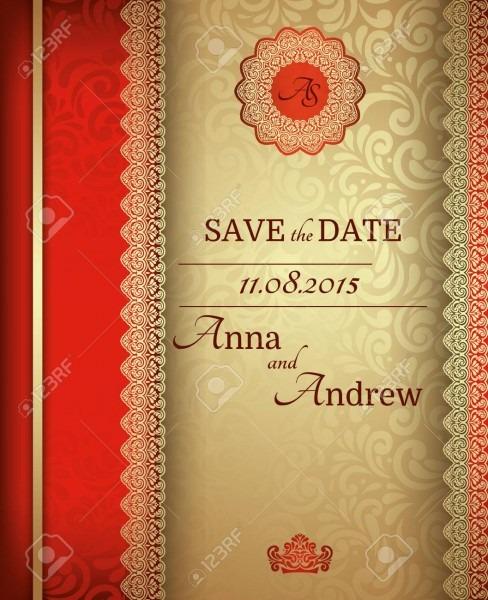 Invitation Card Baroque Golden And Red, Vintage Frame, Border