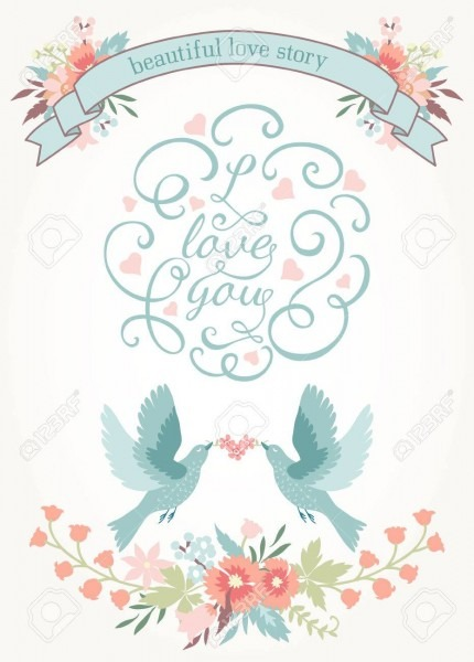 Cute Wedding Invitation With Flowers, Love Birds And Ribbon
