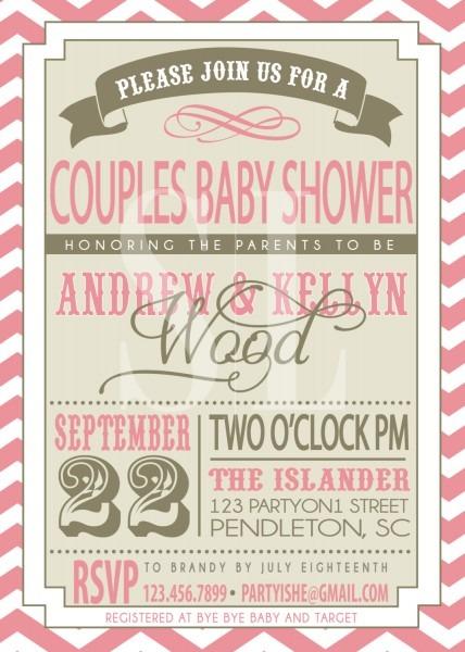 Modern Couple Baby Shower Invitation Heavy Duty Teak Shower Bench