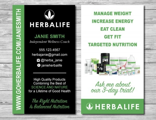 Herbalife Business Cards For Wellness Coach And Distributor By