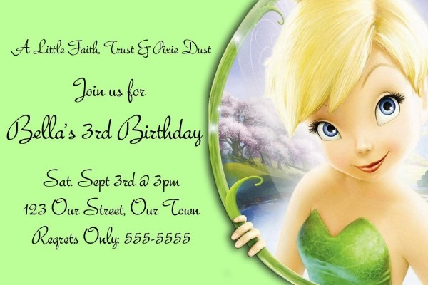 Tinkerbell Birthday Invitation Card