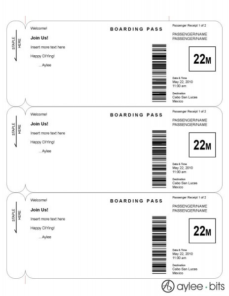 Boarding Pass Invitation Template By Ayleebits Com