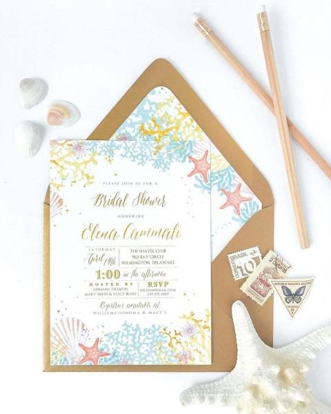 Beach Theme Bridal Shower Invitation, Couples Shower, Wedding