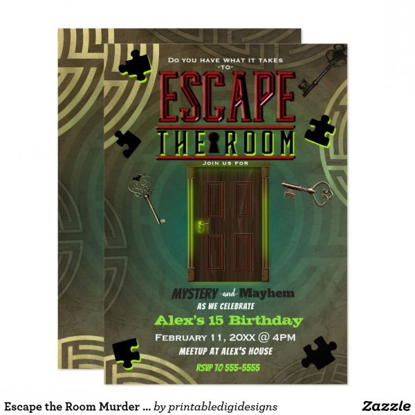 Escape The Room Murder Mystery Dinner Party Invitation