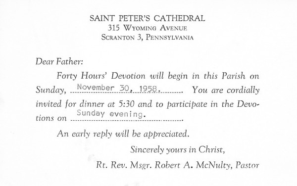 Te Deum Laudamus!  Dear Father  You Are Cordially Invited
