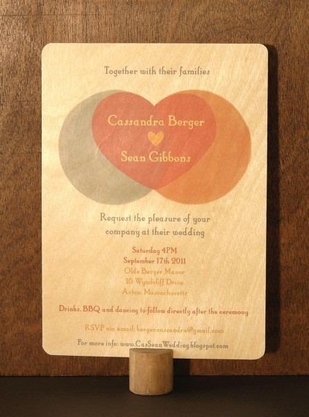 Wedding Invitation Printed On Birch Wood