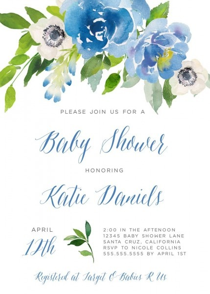 Baby Shower Invitation Boy, Floral Invitations, Brunch Invite