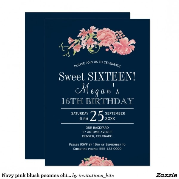 Navy Pink Blush Peonies Chic Floral Sweet Sixteen Invitation In