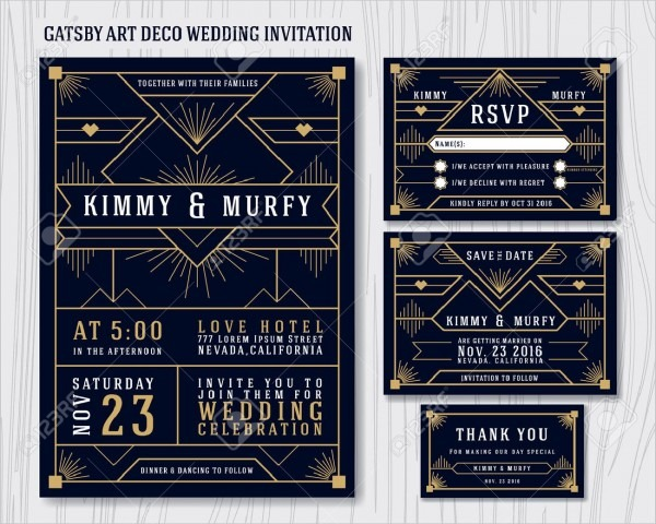 Great Gatsby Art Deco Wedding Invitation Design Template  Include