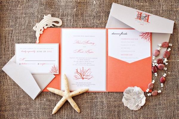 Coral Beach Destination Wedding Invitation Suite, Deposit Listing