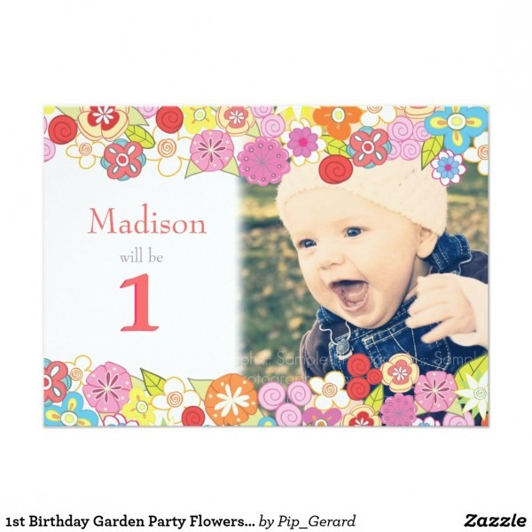 1st Birthday Garden Party Flowers Photo Invitation Each Invite