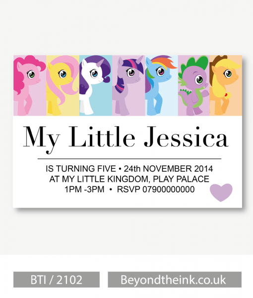 Personalised My Little Pony Invitations  Printed On Professional