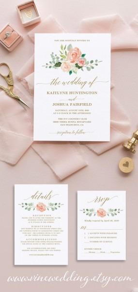 Peach Blush Floral Wedding Invitation Set, Printable Wedding