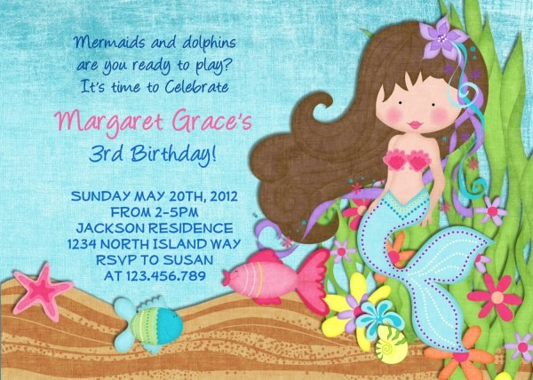 Little Mermaid Birthday Invitation