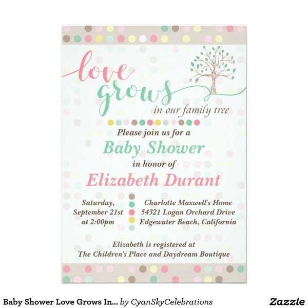 Baby Shower Love Grows In Our Family Tree Pastel Invitation