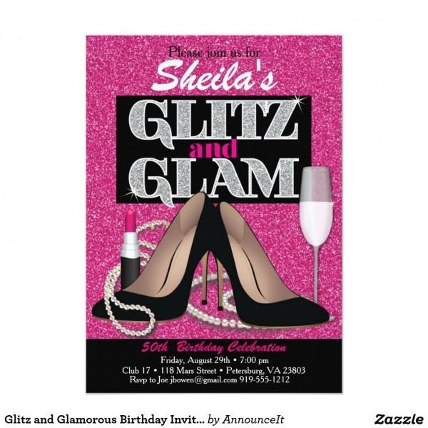 Glitz And Glamorous Birthday Invitation In 2019