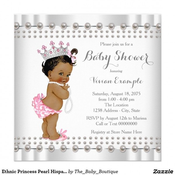 Ethnic Princess Pearl Hispanic Indian Baby Shower Invitation