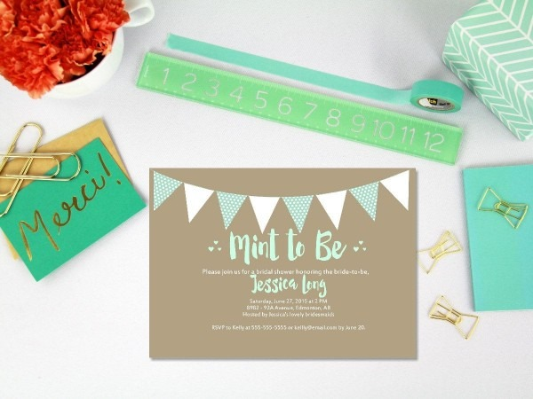Printable Mint To Be Bridal Shower Invitation   Mint Bridal Shower