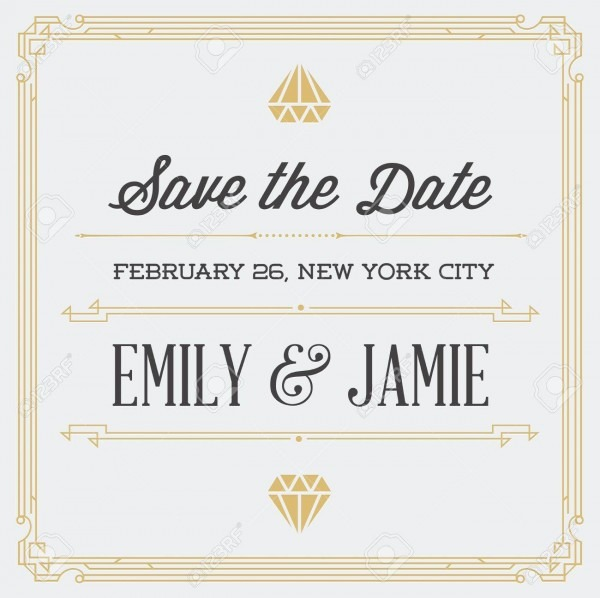 Vintage Style Invitation For Wedding Save The Day In Art Deco