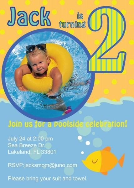 Pool Party Custom Photo Birthday Party Invitation