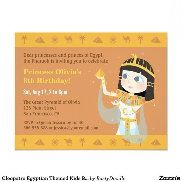 Cleopatra Egyptian Themed Kids Birthday Party Invitation