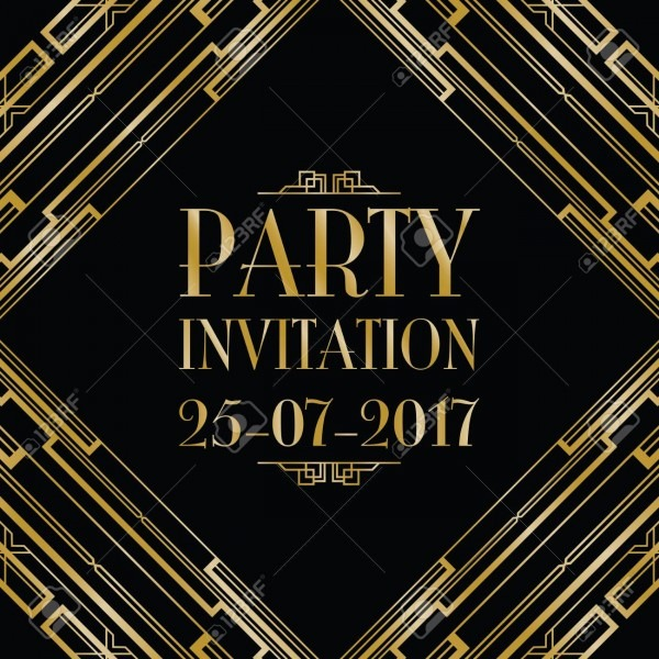 Party Invitation Art Deco Background Royalty Free Cliparts