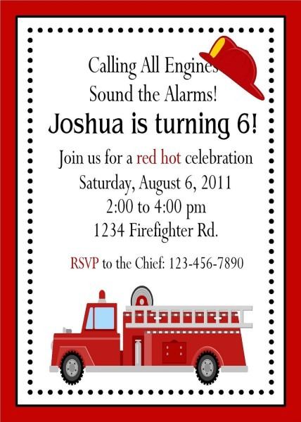 Fire Engine Invitations   Printable Digital By Traditionsbydonna
