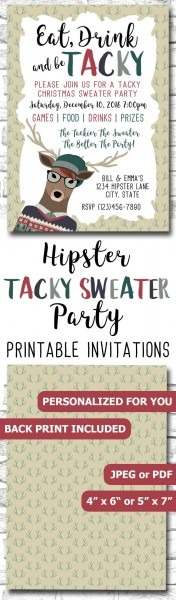 Hipster Tacky Christmas Sweater Party Invitation For Geeks, Nerds
