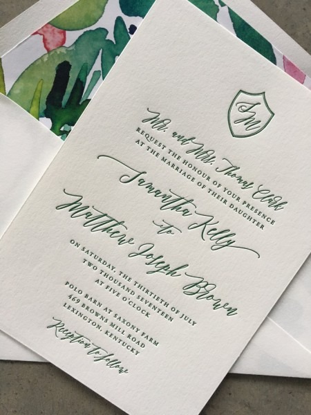 Sample Classic Crest Wedding Invitation, In Green Ink