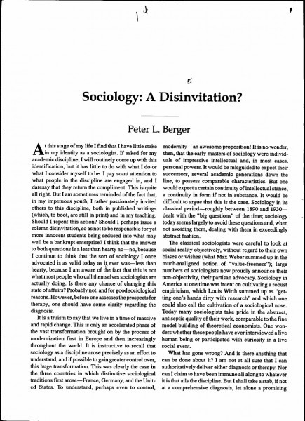 Sociology  A Disinvitation  By Peter Berger