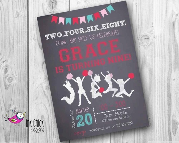 Cheerleader Birthday Invitation, Chalkboard Invitation, Gymnastics