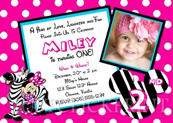 Free Printable Minnie Mouse Birthday Party Invitations