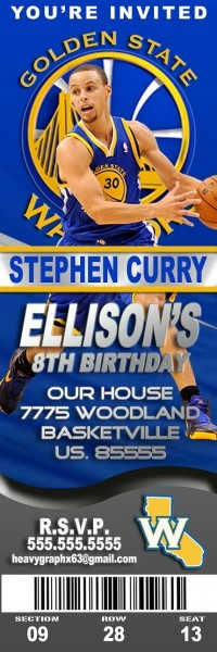 20 Invites With Envelopes Golden State Warriors Birthday Party
