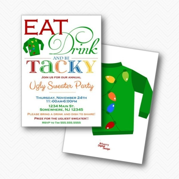 Amazon Com  Eat Drink Be Tacky Ugly Sweater Christmas Party