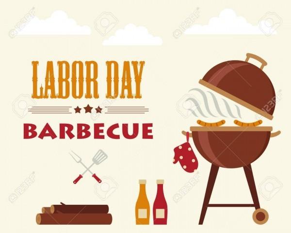 Labor Day Barbecue  Flyer Card Invitation Template  Vector