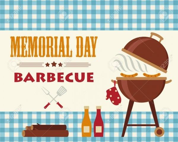 Memorial Day Barbecue  Flyer Card Invitation Template  Vector