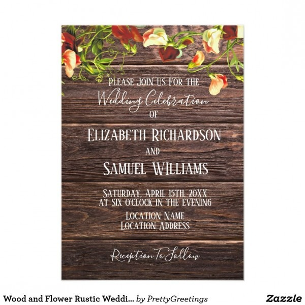 Wood And Flower Rustic Wedding Invitation Wood And Flower Rustic