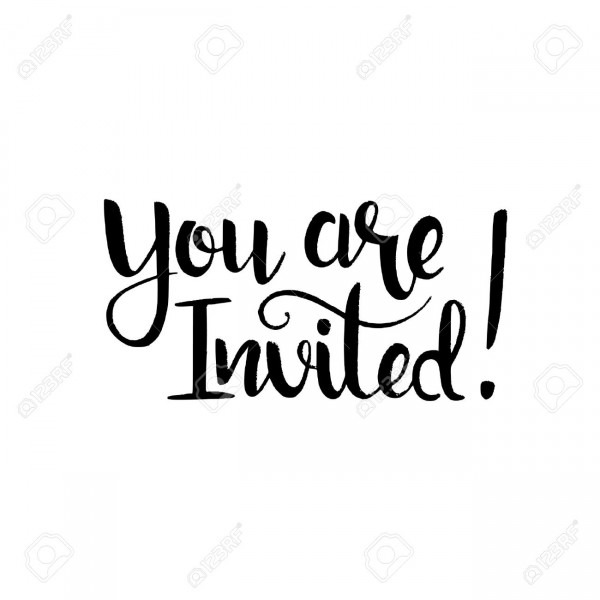 You Are Invited Handwritten Lettering  Modern Vector Hand Drawn