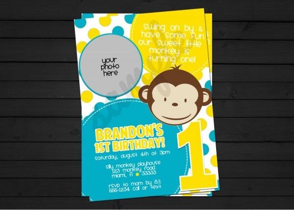 Mod Monkey Boy Birthday Invitation Digital File You