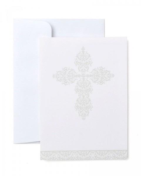 Silver Cross Print At Home Invitations