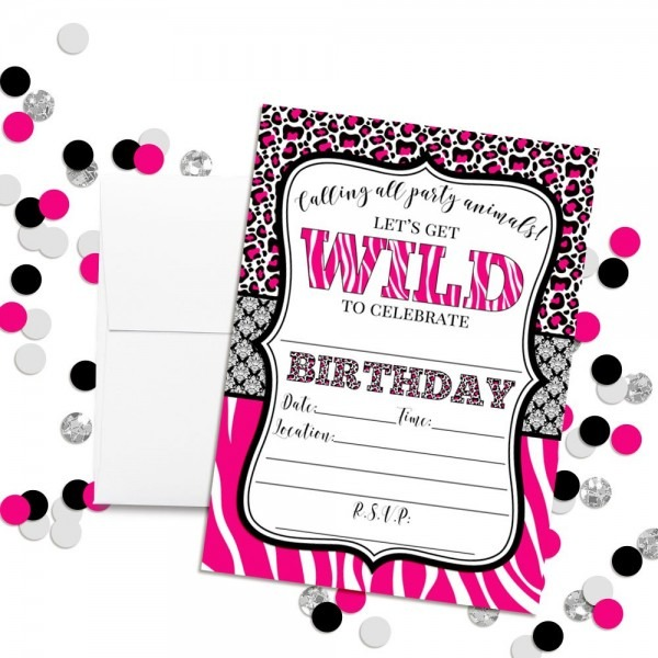 Amazon Com  Hot Pink Animal Print Birthday Party Invitations For