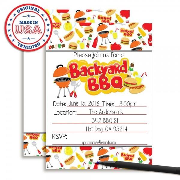 Amazon Com  Amanda Creation Backyard Bbq Party Fill In Invitations