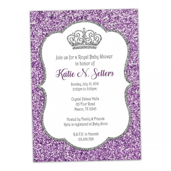 Amazon Com  Purple Silver Princess Baby Shower Invitation Glitter