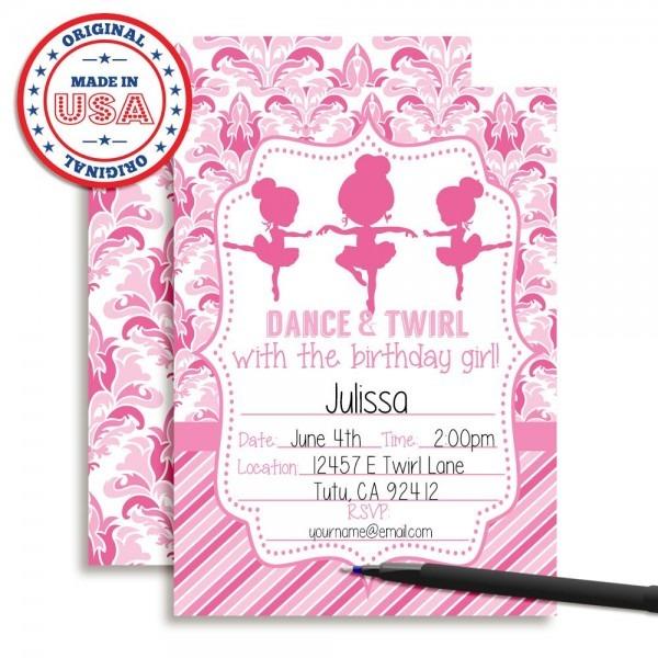 Amazon Com  Dance And Twirl Ballerina Birthday Party Invitations