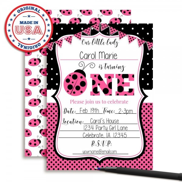 Amazon Com  Pink Ladybug First Birthday Party Invitations For