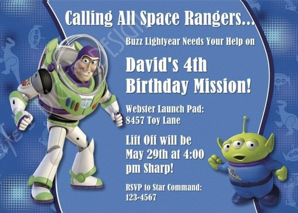 Buzz Lightyear Birthday Invitation Toy Story Invitation Photo