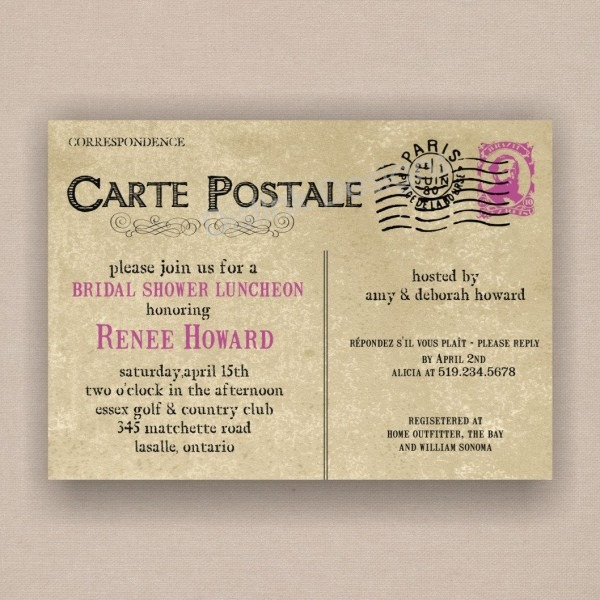 Paris French Postcard Bridal Or Baby Shower Invitation