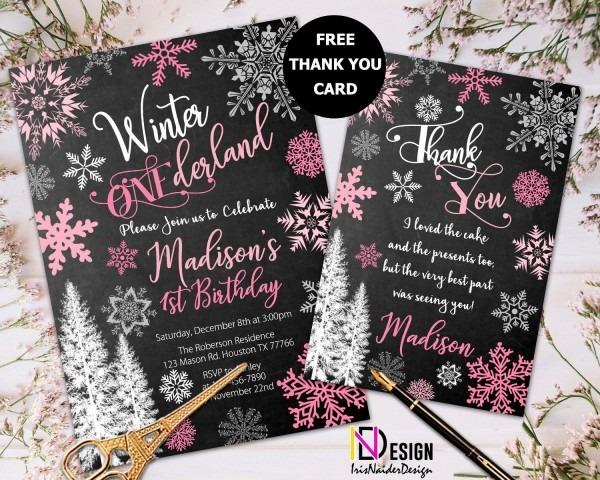 Winter Onederland Birthday Invitation Girl, Onederland Invitation