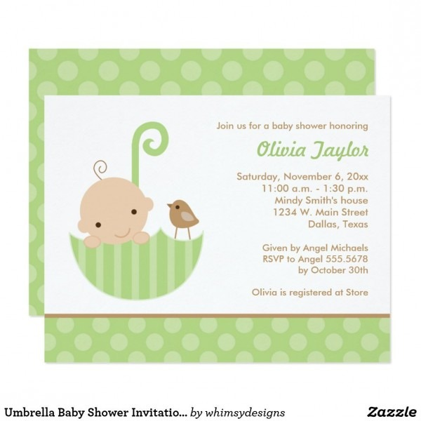 Umbrella Baby Shower Invitations In Green